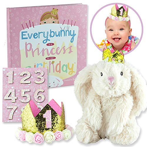 Birthday Bunny Gift Set for Baby, Toddler, and Girls Ages 1 2 3 4 5 - Includes Book, Bunny, and Princess Crown with Interchangeable Stickers for Years 1-9. Everybunny's a Princess on Her Birthday!
