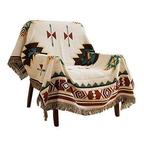 HOORDRY Decken, Fransen sofadecke Baumwolle, Sofabezug im amerikanischen Ethno-Stil ideal fürs einen Sessel, Picknickdecke,Tagesdecke/Sofa-Überwurf 130 x 180 cm