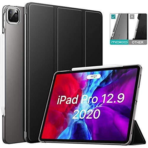 MoKo Custodia compatibile con iPad Pro 12.9 4a Generazione 2020 & 2018 in Pelle con Tasca Portapenne, Supporto Magnetico 2 Sezioni, Spegnimento Automatico, Cover Rigida - Nero