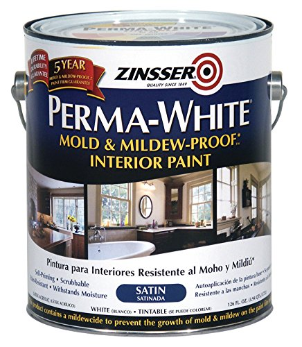 Rust-Oleum 2711 White Zinsser Perma-Mold and Mildew-Proof Interior Satin Paint, 1 gal Can (Pack of 2)
