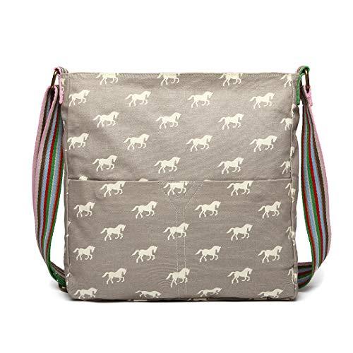 Miss Lulu Frauen Leinwand Messenger Tasche Pony Teenagers Fashion Schoolbag für Mädchen (Grau)
