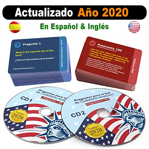Compare Textbook Prices for Ciudadania Americana 2020  2 CD + 100 Flash Cards - ESPAÑOL & INGLES | US Citizenship Test Study Guide 2020, SPANISH & ENGLISH - 100 Official USCIS Questions & Answers  ISBN 0762539926670 by CitizenshipFlashCards.us
