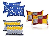 BSB HOME® Present Designer Printed 6 Piece Cotton Pillow Cover Set- 20' X30' Inches, (White, Blue, Yellow, Maroon and Grey)
