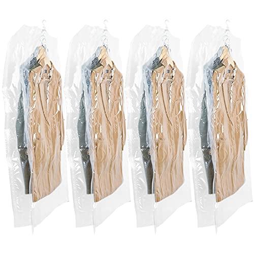 TAILI Sacchetti Salvaspazio Cubo Sacchi Sottovuoto Riutilizzabili da Appendere con Gancio Esterno Confezione 4 (135x70x38cm) Sacchetti per Abiti, Completi, Cappotti, Vestiti