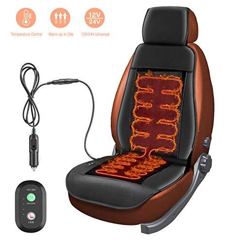 Furado 12v/24v Auto Sitzheizung, Auflage Heizkissen Beheizte Sitzauflage Mit Zeit Temperatur Kontrolleur Universal Vordersitz Schwarz LKW Für Auto
