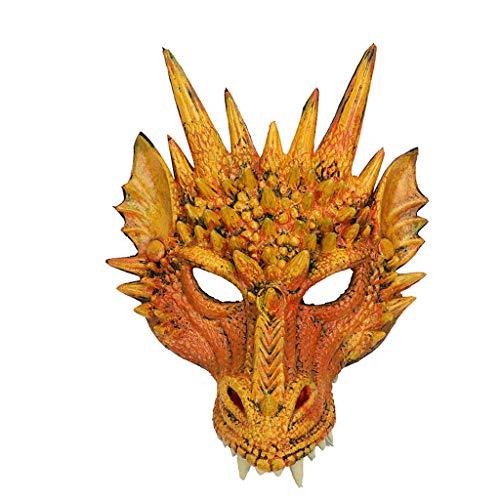 Drachenmaske Halbmaske, Nourich Halloweenmaske Maske Masken Kindermasken Maskerade Partymasken Halbmaske Cosplay Lustiges Kostüm Halloween (Gelb)