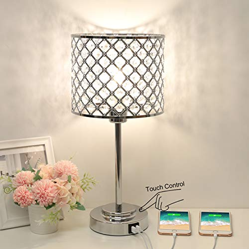 Boncoo Crystal Table Lamp with 2 USB Ports, 3 Way Dimmable Touch Bedside Lamp Decorative Nightstand Lamp with Crystal Lampshade Elegant Night Light for Bedroom Living Room Dresser, 4000K Bulb Included