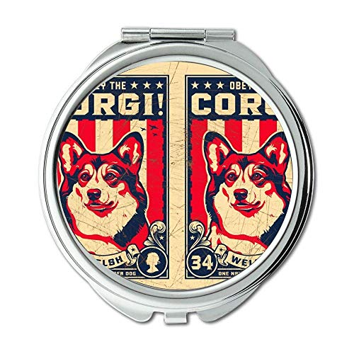 Yanteng Spiegel, Runder Spiegel, Bulldogge Welpen Hunde Haustiere Corgi, Taschenspiegel, 1 X 2 X Vergrößerung