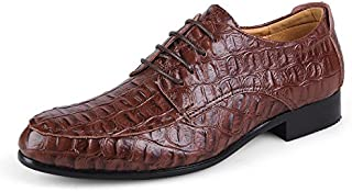 Men's Business Oxford Casual Uncomplicated Classic Crocodile Rung Toe Formal Shoes casual shoes (Color : Dark Brown, Size : 50 EU)