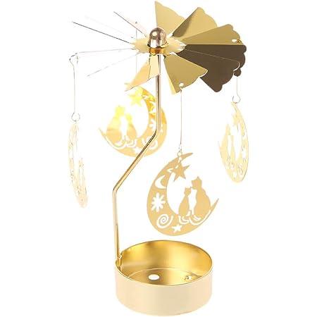 Lot de 4 bougies chauffe-plat rotatives en m/étal pour d/écoration de No/ël