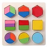 winwintom Puzzles de Madera, 1 Conjunto Niños Bebé Bloques de construcción de geometría de Madera Puzzle Early Learning Educational Juguete