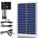 SUNER POWER - Kit de panel solar de 30 vatios de poliéster cristalino de 12 V – Panel solar impermeable de 30 W + controlador de carga solar mejorado de 10 A + 3 adaptadores de cable SAE para coche, RV, barco, remolque, sistema de red
