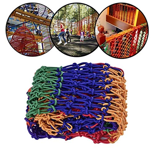 Rope Net Color Safety Net Indoor Stair Balcony Anti-fall Net Hanging Bridge Fence Net Garden Fence Net Climbing Net Hammock Swing Mesh(Multi-size) (Color : 6cm Mesh, Size : 2 * 2M)