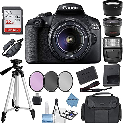 Canon EOS 2000D Rebel T7 Kit with EF-S 18-55mm f/3.5-5.6 III Lens + Accessory Bundle + Rtech Digital Cloth