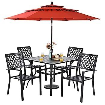 Sophia & William Patio Dining Set with 10ft 3 Tier Auto-tilt Umbrella Outdoor Table Furniture Set - 4 x Metal Outdoor Chairs 1 x Metal Square Dining Table and 1 Orange Red Patio Umbrella