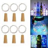 AlleTechPlus 6 Pack 20-LEDs Spark Wine Bottle Light, Cork Shape Battery Copper Wire String Lights for Bottle DIY, Christmas, Wedding and Party Décor (Colorful)