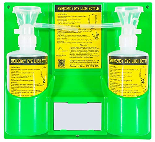 CGOLDENWALL Portable Eye Wash Station Wall Mounted Eyewash Station Emergency Eyewash Kit Double 500ml Empty Bottle with Cup Can Match with Eyewash Solution Perfectly (No Liquid in Bottles)