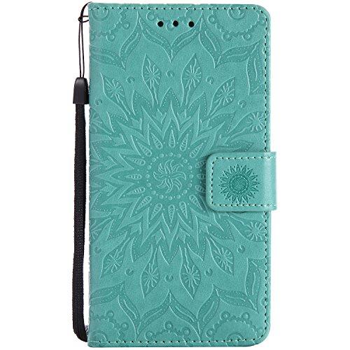 Lomogo Sony Xperia Z5 Hülle Leder Blumenprägung, Schutzhülle Brieftasche mit Kartenfach Klappbar Magnetverschluss Stoßfest Kratzfest Handyhülle Case für Sony Xperia Z5 - KATU22953 Grün