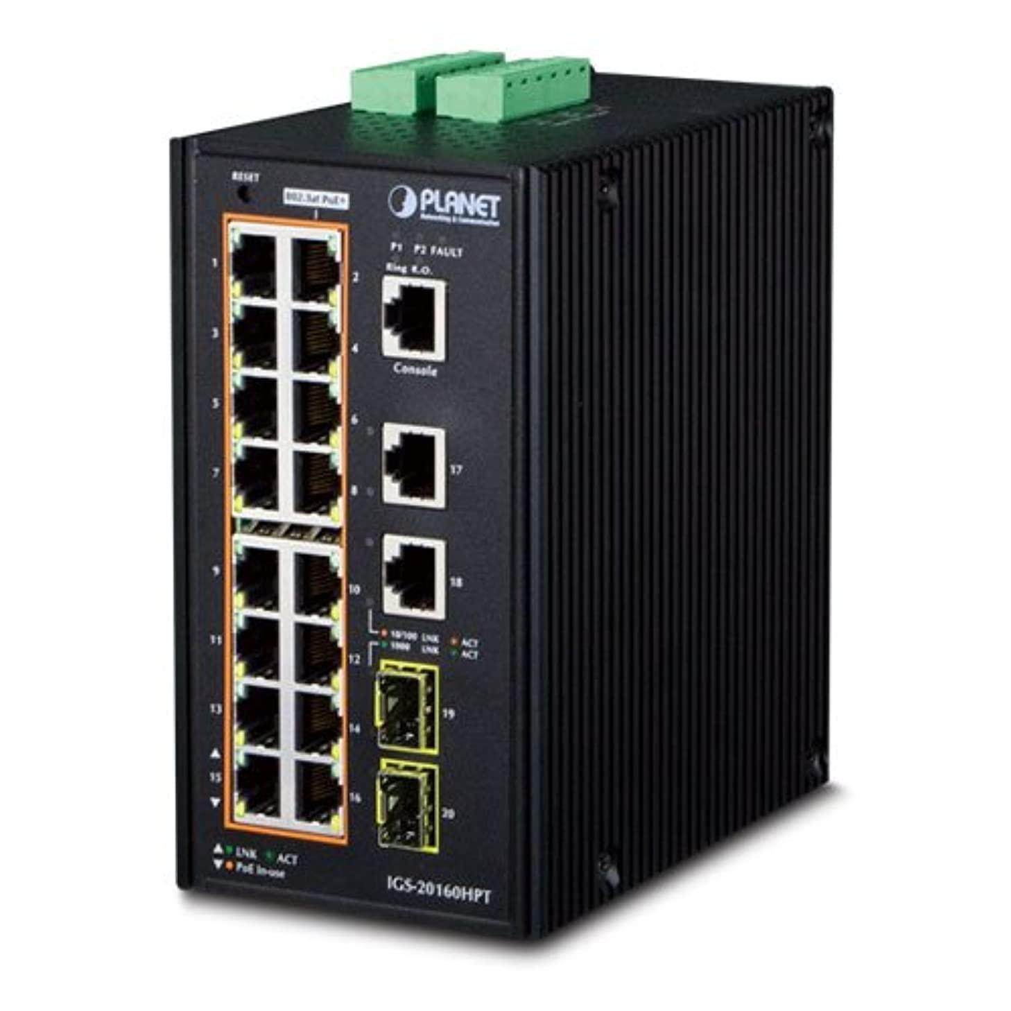 IGS-20160HPT Industrial 16-Port 10/100/1000T 802.3at PoE + 2-Port 10/100/100T + 2-Port 100/1000X SFP Managed Switch (-40~75 Degrees C)