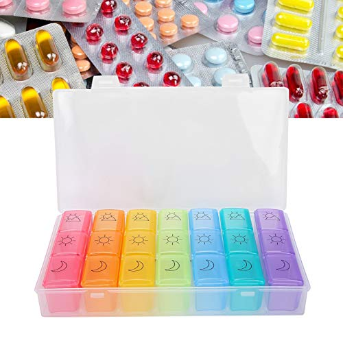 2pcs 21 Slot Pill Box, Weekly Travel Pill Organizer Portable 3 Times a Day Pillbox Dispenser Pills Medicine Storage Container Case Tablet Box Dispenser Pill Case Planner