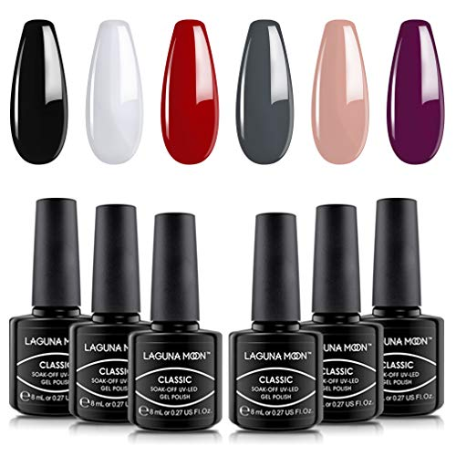 Lagunamoon Gel Nail Polish Set 6 Classic Colours Black White Red Gray Dark Purple Nude Gel Polish Soak Off UV LED Manicure Set Requires Drying Under Nail Lamp,8ML Each Bottle
