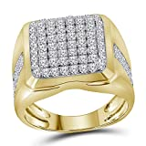 Solid 10k Yellow Gold Men's Round Diamond Square Cluster Engagement Wedding Anniversary Ring Band 2.00 Ct. - Size 10