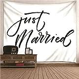 Aeici Wandbehang Indien,Wandtücher Tapisserie Just Married Weiß Schwarz Tuch Wandtuch 260X240CM
