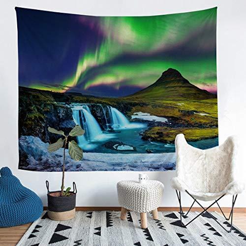 Tapiz galaxia para colgar en la pared para niños y niñas Aurora cascada Tapiz de pared con purpurina verde magnífica decoración para la pared del dormitorio, sala de estar, 152 x 228 cm