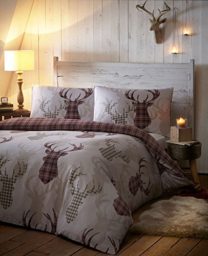DUVET COVER BED SETS - TARTAN STAG REVERSIBLE BEDDING CHECKED QUILT COVER BED SET - Natural shades (King)