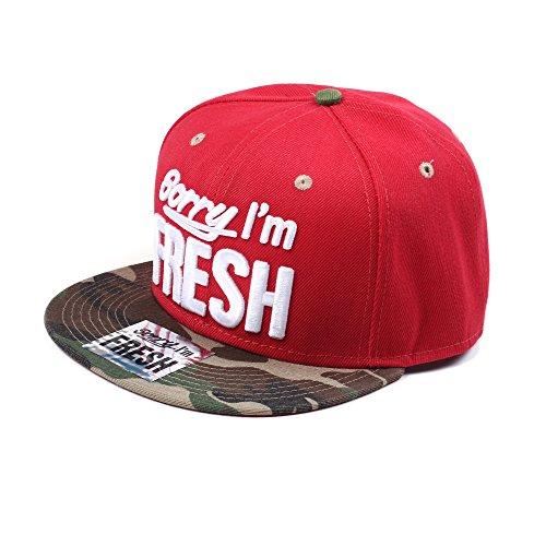 Sorry I'm Fresh Rouge et Camouflage Hip Hop Casquette Réglable (Red & Camo Snapback Cap)