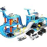 MAJOZ0 Aparcamiento para niños, coches de policía, garaje de aparcamiento con 3 minicoches y 2 helicópteros, tren de carreras, juguete de regalo para niños