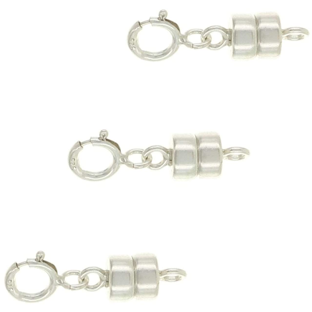 Fiore Sterling Silver 4.5 mm Magnetic Clasp Converter for Jewelry and Necklaces | Made in USA [3 Pack]