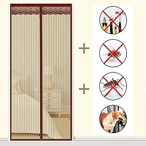 WRJY Adjustable Magnetic Screen Doors,Anti Mosquito Embroidered Door Net, Heavy Duty Mesh Curtain,Sliding Doors Patio Screens-Brown_95200cm(3779inch)