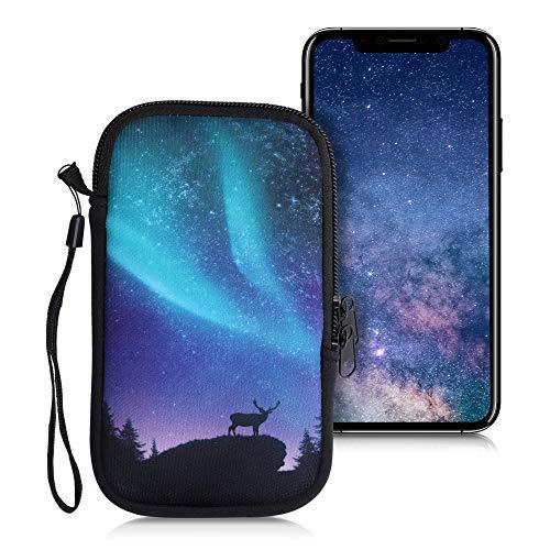 kwmobile Funda Universal para móvil de M - 5,5' - Estuche de Neopreno con Cierre - Carcasa Ciervo con la Aurora Boreal
