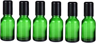 6Pcs Green Glass Roll on Bottles With Stainless Steel Roller Balls and Black Cap Essential Oil Roller Bottles Empty Refill...