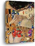Pinturas en Lienzo El Beso (Detalle) Gustav Klimt Obra de Arte Arte de la Pared Impresiones en Lienzo enmarcadas para el Dormitorio Sala de Estar Decoración del hogar 50x70cm sin Marco