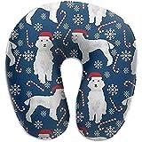 KDU Fashion Pillow,Bastones De Caramelo Poodles Lindos Perros Cojín En Forma De U Cojín Suave Y Cómodo para El Descanso del Dolor De Cuello