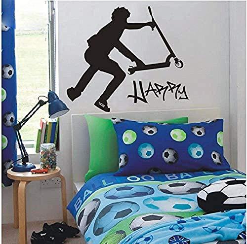 Wandaufkleber Dekoration Wanddekoration Zubehör Kinder Wandaufkleber Diy Extra Large Scooter Stunt Benutzerdefinierte Wandtattoos Schwarze Aufkleber 46X58 Cm