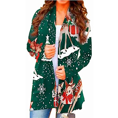 HFStorry Women Christmas Cardigan - Ladies Open Front Christmas Print Casual Long Sleeve Lightweight Midi Long Cardigan