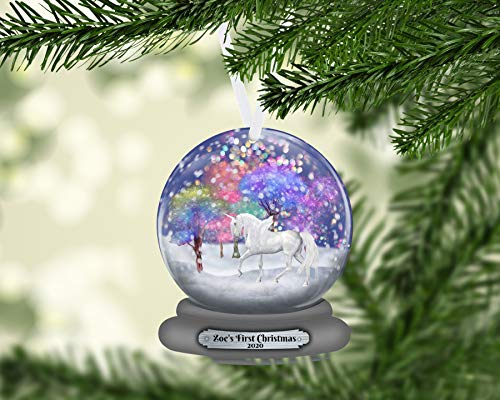 Unicorn Snow Globe Christmas Ornament Personalized, Name Ornament, Custom Christmas Holiday, Gift for Girl, Unicorn Gift, Baby's First
