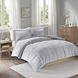 Intelligent Design Carson Ultra Soft Reversible Frosted Print Plush to Yarn-Dyed Heathered Microfiber Comforter Set, King/Cal King, Grey