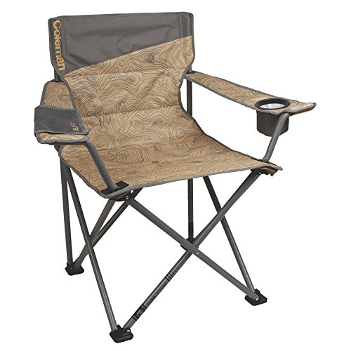 "Coleman Company Big-N-Tall Topo Print Quad Chair, Tan/Brown, 19.5"" x 24"" x 38"""