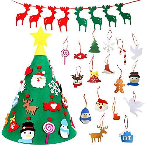 TATAFUN Feltro Albero Natale, 3D Alberi Natale Rimovibili di DIY con 18 Ornamenti Staccabili con 1 Pezzo Banner di Natale, Regali di Natale di Nuovo Anno per la Decorazione