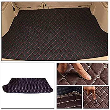 Longzhimei Leather Car Trunk Mats for Volkswagen Polo Hatchback 2014-2018 Car Boot Liner Protector Cover Cargo Liner Set Anti-Slip Black Red