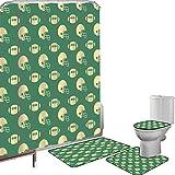 Juego de cortinas baño Accesorios baño alfombras fútbol americano Alfombrilla baño Alfombra contorno Cubierta del inodoro Patrón de estilo retro con casco de rugby y torneo de campeonato de bolas deco