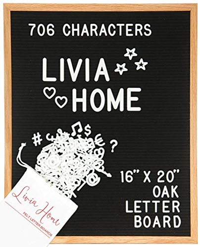 "Letter Board - Black Felt Sign with 706 1"" and 2"" White Plastic Changeable Characters - Large Wooden 16 x 20 inch Solid Oak Frame - with 7x5 inch Canvas Bag - Vintage Display by Livia Home"