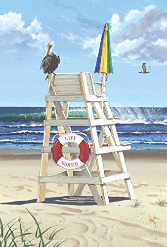 Toland Home Garden Pelikan-Pfosten, 31,8 x 45,7 cm, dekorativer Sommer-/Strand-/Vogelschutz-Ozean-Wellen