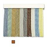 Cortinas Porta in corda per esterni, 90 strisce in plastica PVC e barra in alluminio, ideale per terrazze e verande, anti-mosche, colore: beige/marrone 2, 120