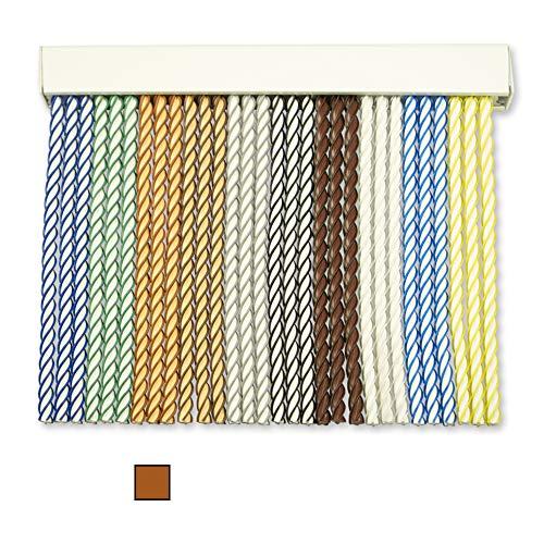 Cortinas Exterior Puerta de Cordon | Tiras Plastico PVC y Barra Aluminio | Ideal para Terraza y Porche | Antimoscas | Beige-Marrón | 210 * 120