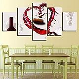 JCCanvas Impression sur Toile 5 Pièces Bouchon de vin HD Photo Moderne Image Artistique(Non Encadrée) Style Rétro Décoration Murale Tableau Motif Imprimé Cadeau (150x80cm)